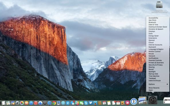 OS X El Capitan System Preferences Dock shortcut Mac screenshot 001