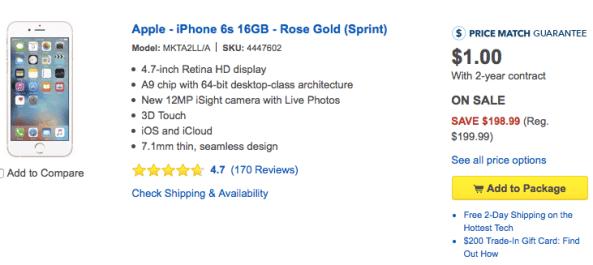 Best Buy iPhone 6s one buck web screenshot 001