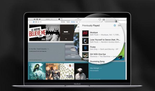 iTunes recently played songs Mac screenshot 003