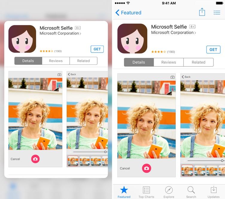 iOS 9.3 Peek and Pop App Store de iPhone 6s pantalla 002