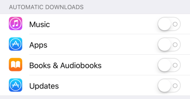 Automatic Downloads Configuration on iPhone