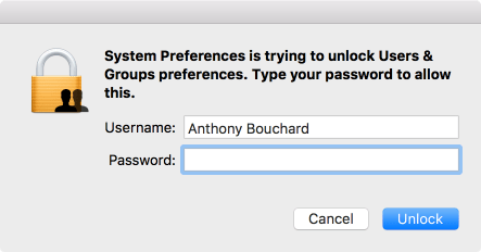 OS X System Preferences is trying to unlock users & groups pefernces type your password to allow this
