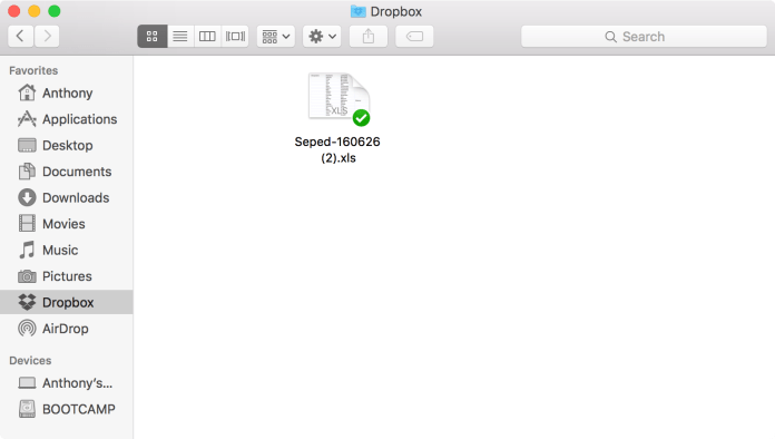 Mac Finder Dropbox Contacts XLS file
