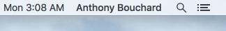 OS X Menu Bar Full Name