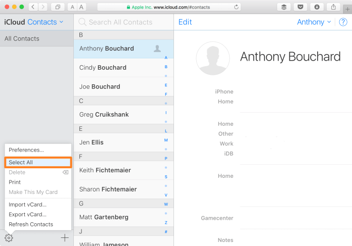 iCloud Website Contacts Select All