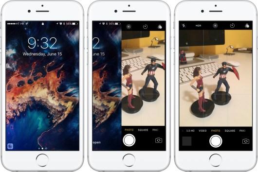 iOS 10 Khóa trượt máy ảnh màn hình trên iPhone chụp màn hình 002