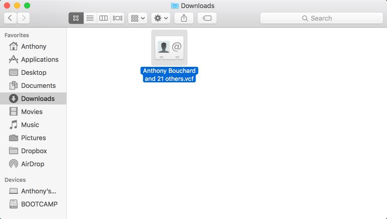 vCard File Mac Finder Downloads Folder