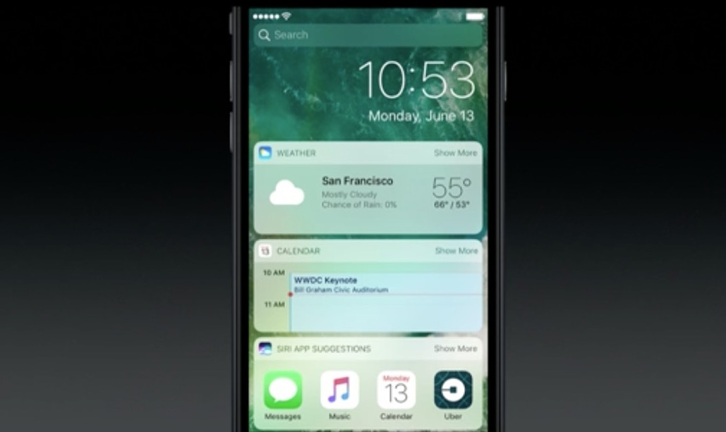 wwdc 2016 ios 10 lock screen widgets