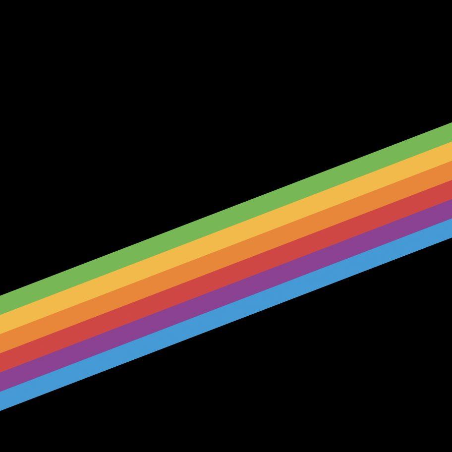 Tapeta iOS 11 (pięciobarwny pasek kolorowy na czarnym tle) - retro