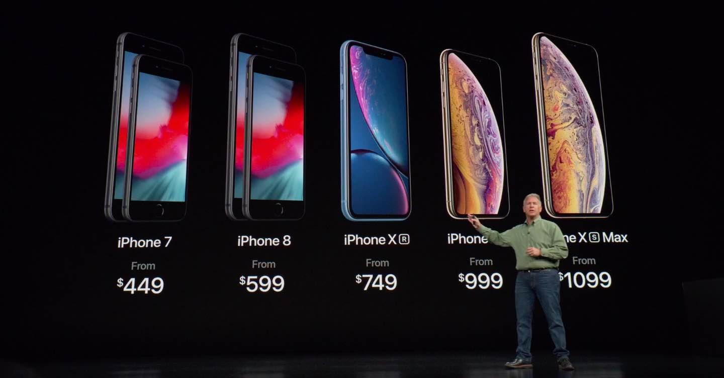 A slide shown during the September 13 iPhone Xs presentation, laying out Apple's iPhone lineup for 2018
