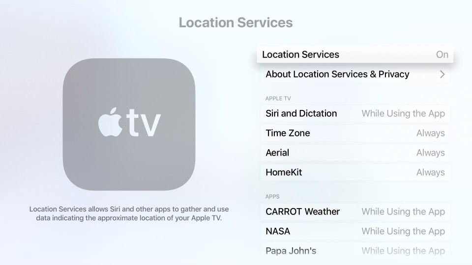 Apple TV Location Services