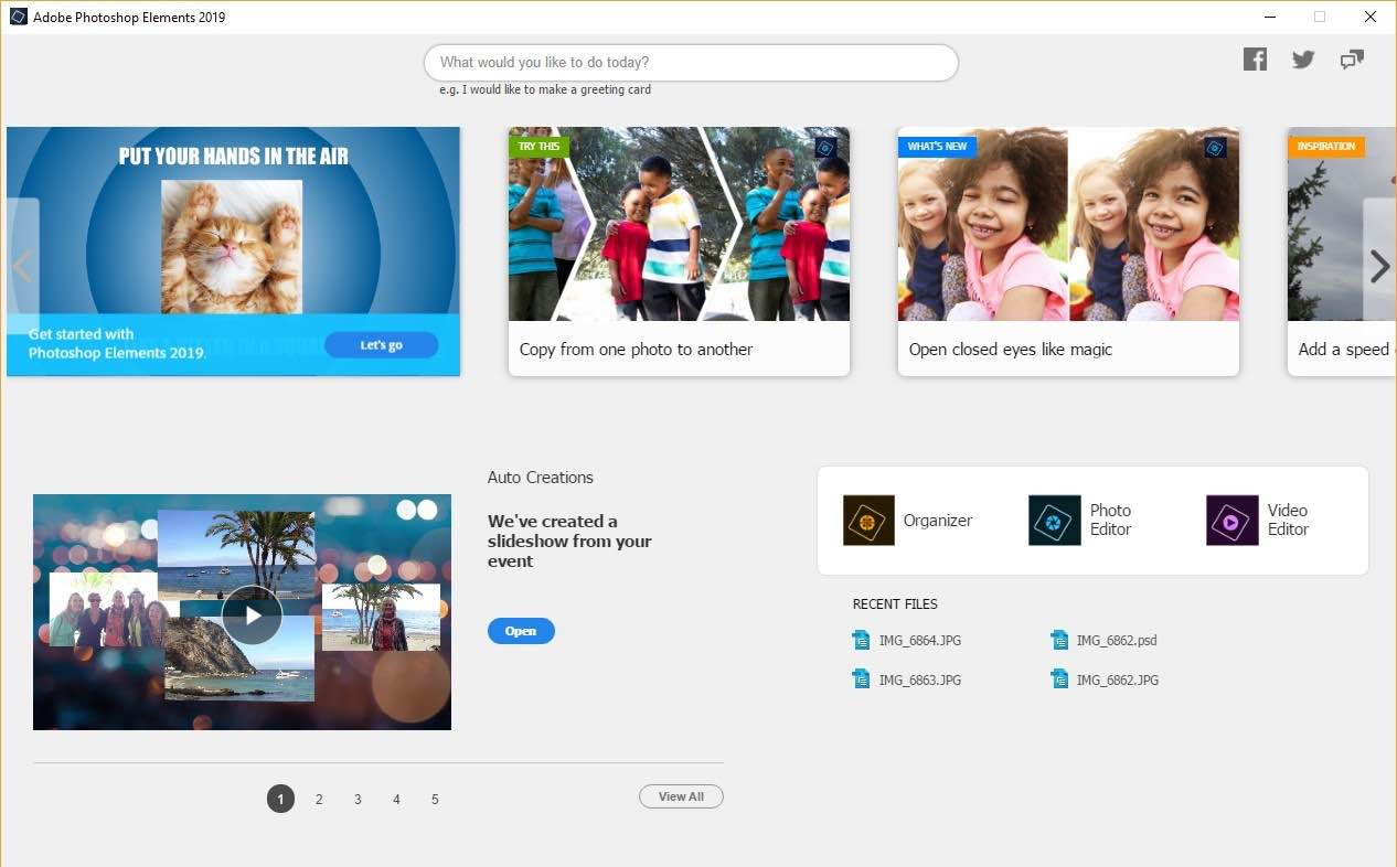 Adobe Photoshop Elements 2019 and Adobe Premiere Elements 2019 both have a redesigned Home screen