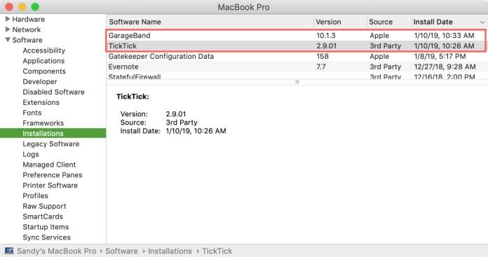 App Update Installations in System Information