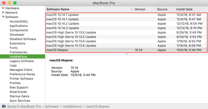 macOS Installations in System Information