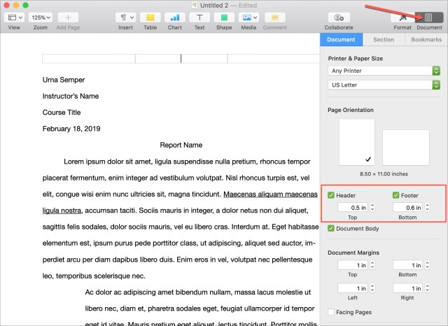 How to work with headers and footers in Pages on Mac