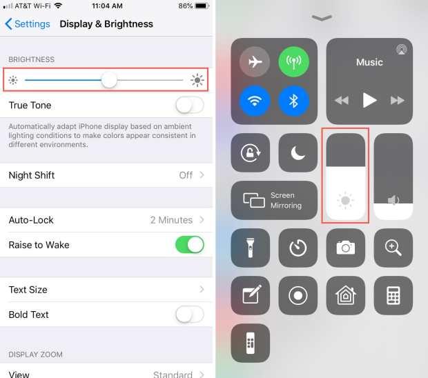 Control Screen Brightness Manually iPhone
