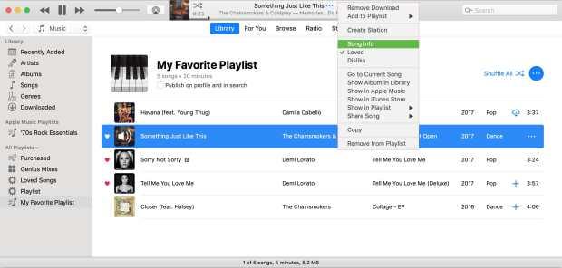 Song Info in Menu iTunes