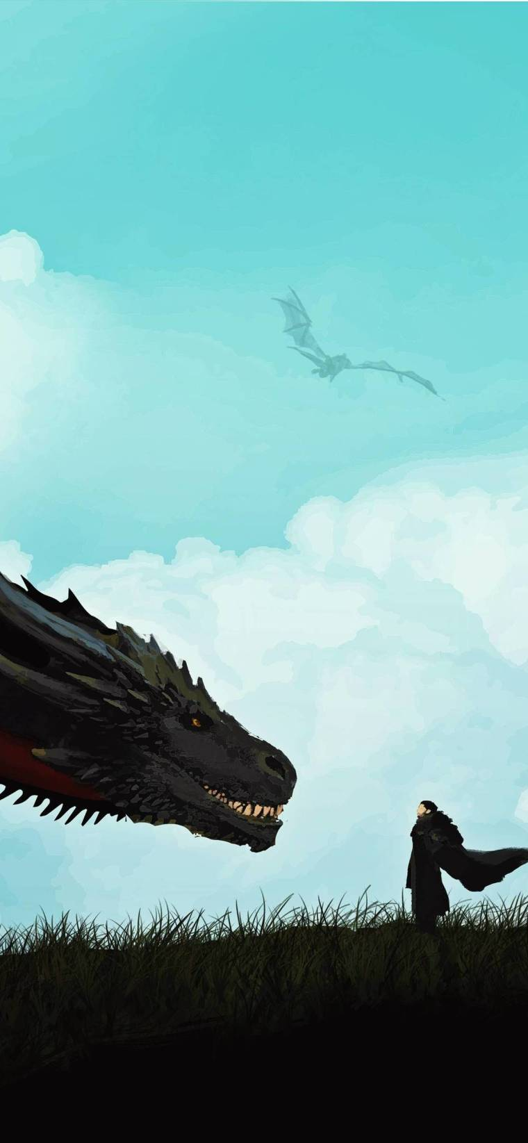 jon-snow-and-khalessi-dragon iPhone game of thrones wallpaper