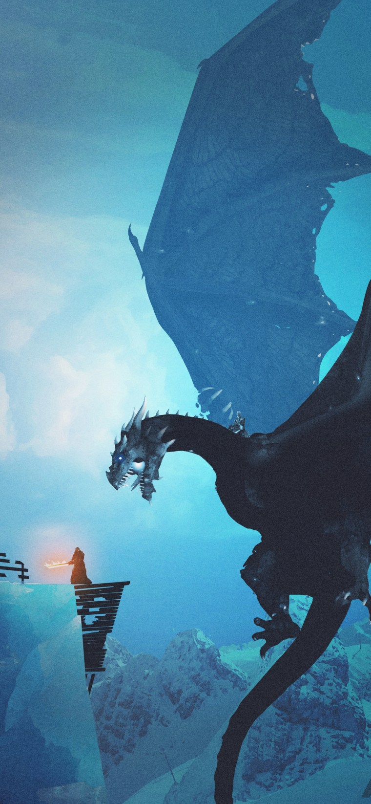night-king-dragon-vs-lord-of-light iPhone game of thrones wallpaper