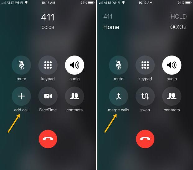 Add Call Merge Calls iPhone