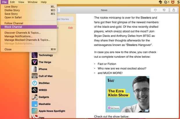 Block Channel in Apple News on Mac