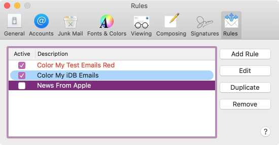 Color Code Rules in Mail on Mac