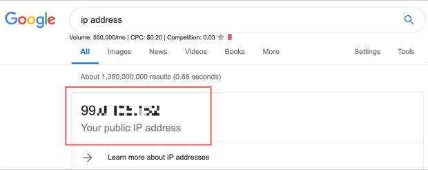 Mac external IP Address on Google