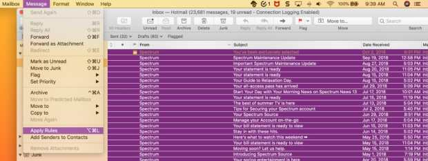 Unwanted Emails Apply Rules in Mac Mail