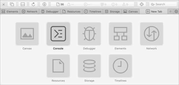 Safari Web Inspector Tabs on Mac
