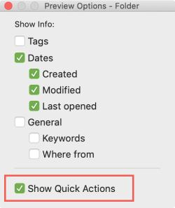 Finder Preview Options Show Quick Actions