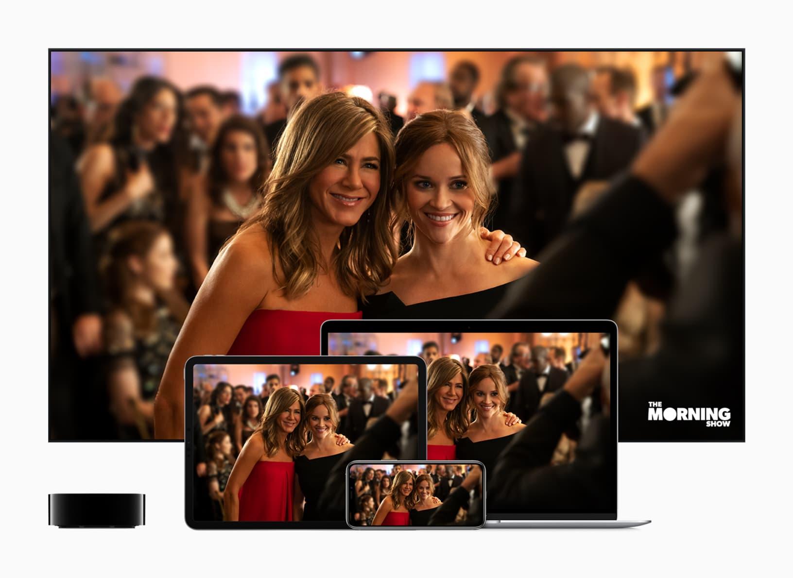 Apple TV + рекламный баннер для. Утреннее шоу