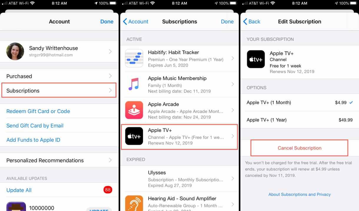 Cancel Apple TV iOS - طريقة إلغاء اشتراك +Apple TV حتى لا يتم تجديد الخدمة تلقائيا وسحب الاشتراكات