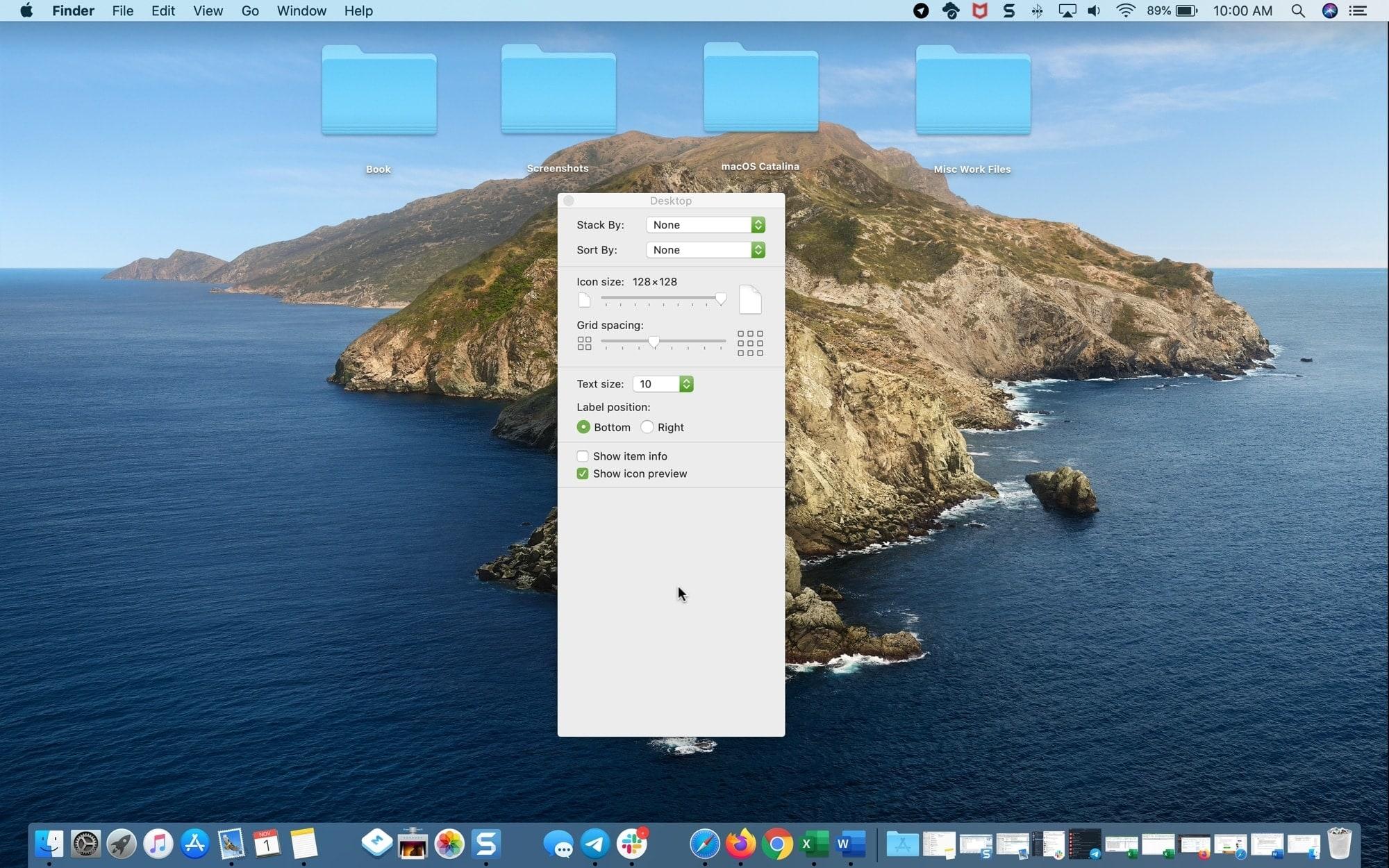 Большие значки Маленький текстовый рабочий стол Mac