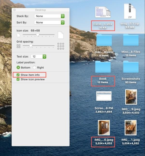 Показать информацию об элементе Mac на рабочем столе