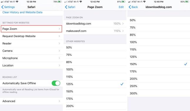Page Zoom site settings Safari iPhone
