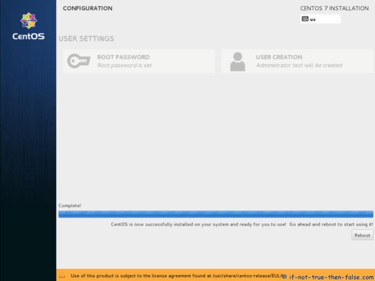 CentOS 7.5 Instalasi Selesai