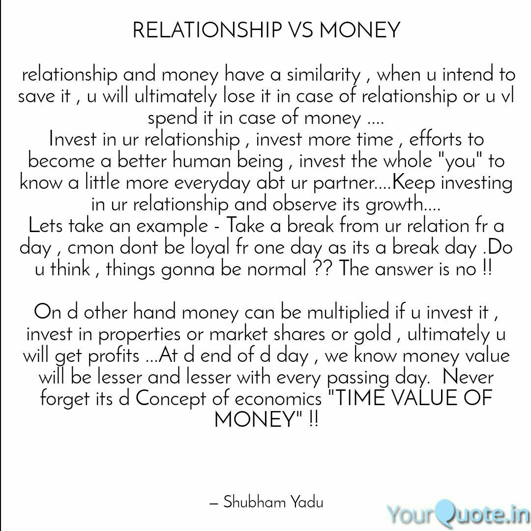 Relationship Vs Money R Quotes Writings By Shubham Yadu Yourquote