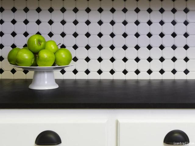 Black And White Kitchen Tile