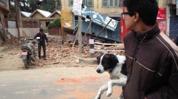 Man saves his dog nepal