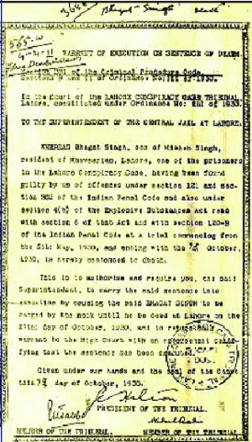 bhagat singh's warrant