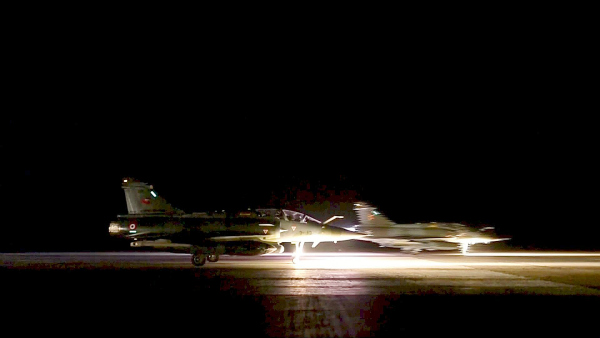 French fighter jets bombing Syria