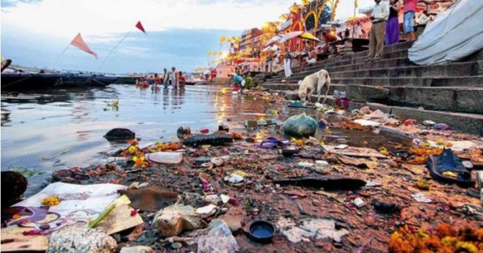 River ganga polluted with plastics and other wastes