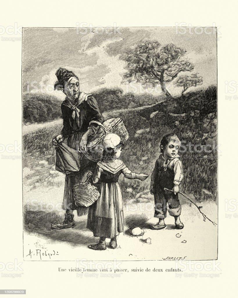 https www istockphoto com fr vectoriel une vieille femme soccuper de deux jeunes enfants 19 c3 a8me si c3 a8cle gm1205299923 347153471