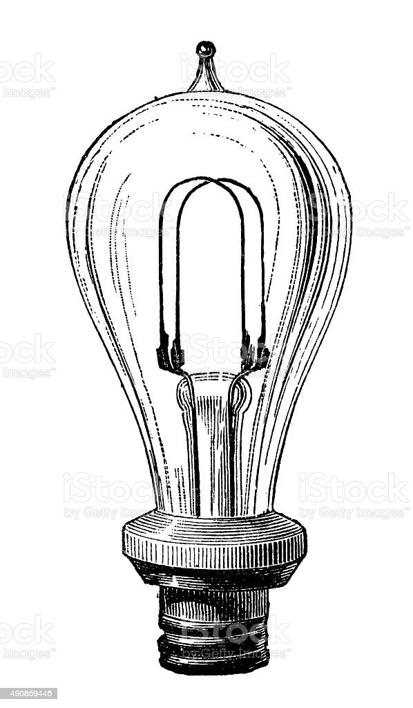 Antique Illustration Of Electric Lamp Systems And Bulbs