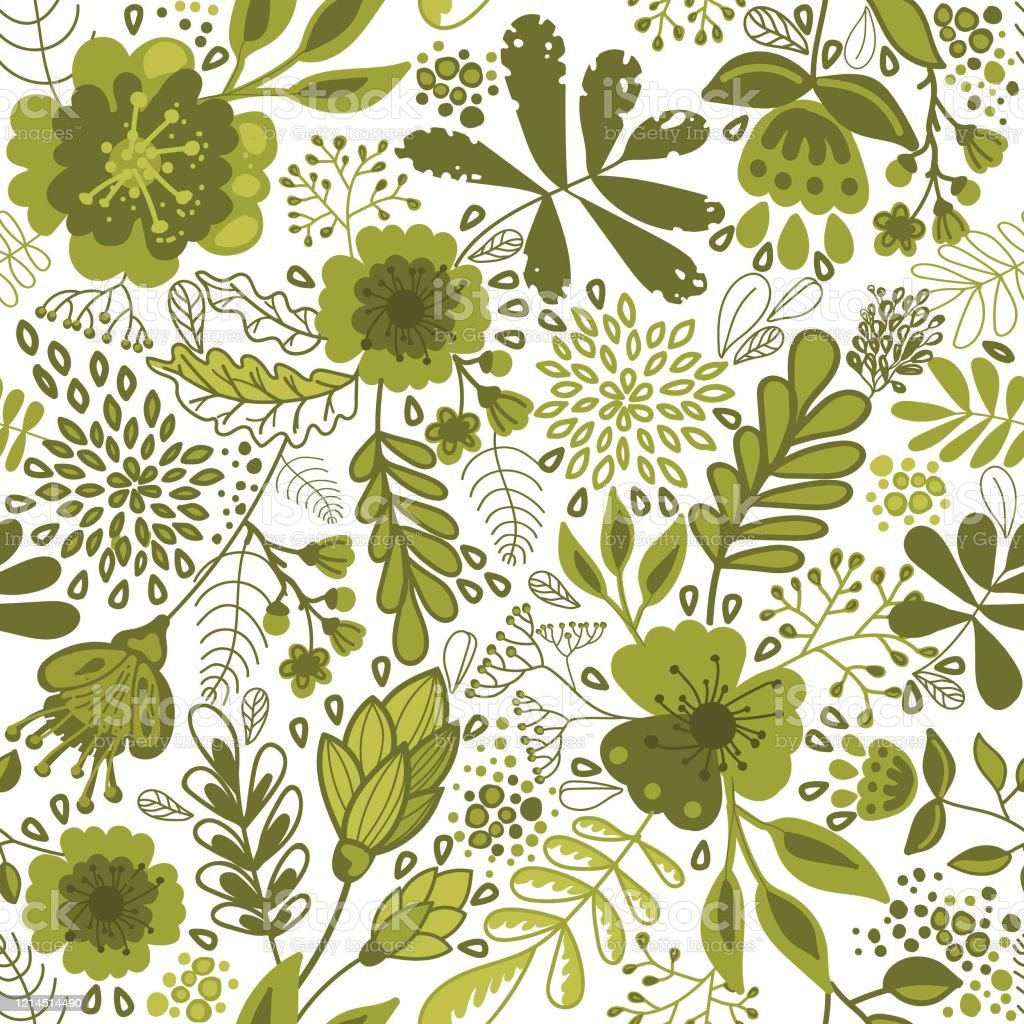 Botanical Seamless Retro Pattern Vintage Floral Wallpaper Green Flowers Stock Illustration Download Image Now Istock