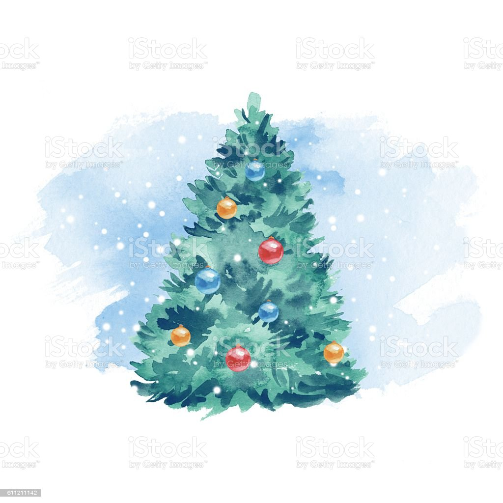 Christmas Tree Balls And Snow Watercolor Painting Blue