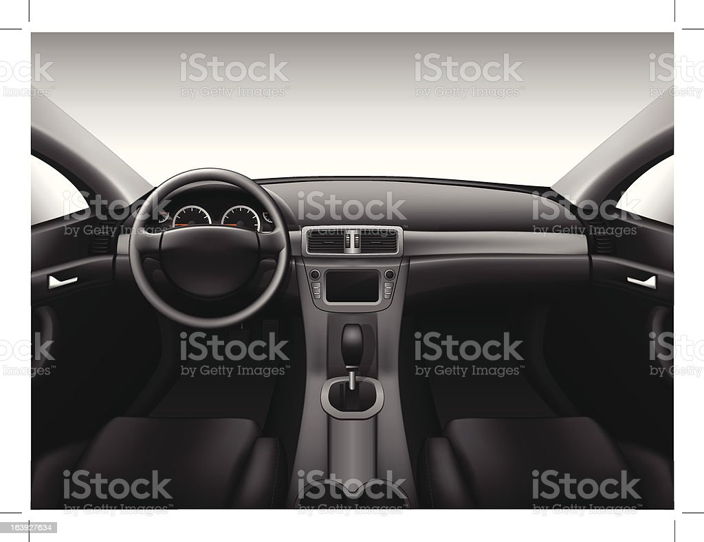 Royalty Free Car Interior Clip Art  Vector Images   Illustrations     Dashboard   car interior vector art illustration
