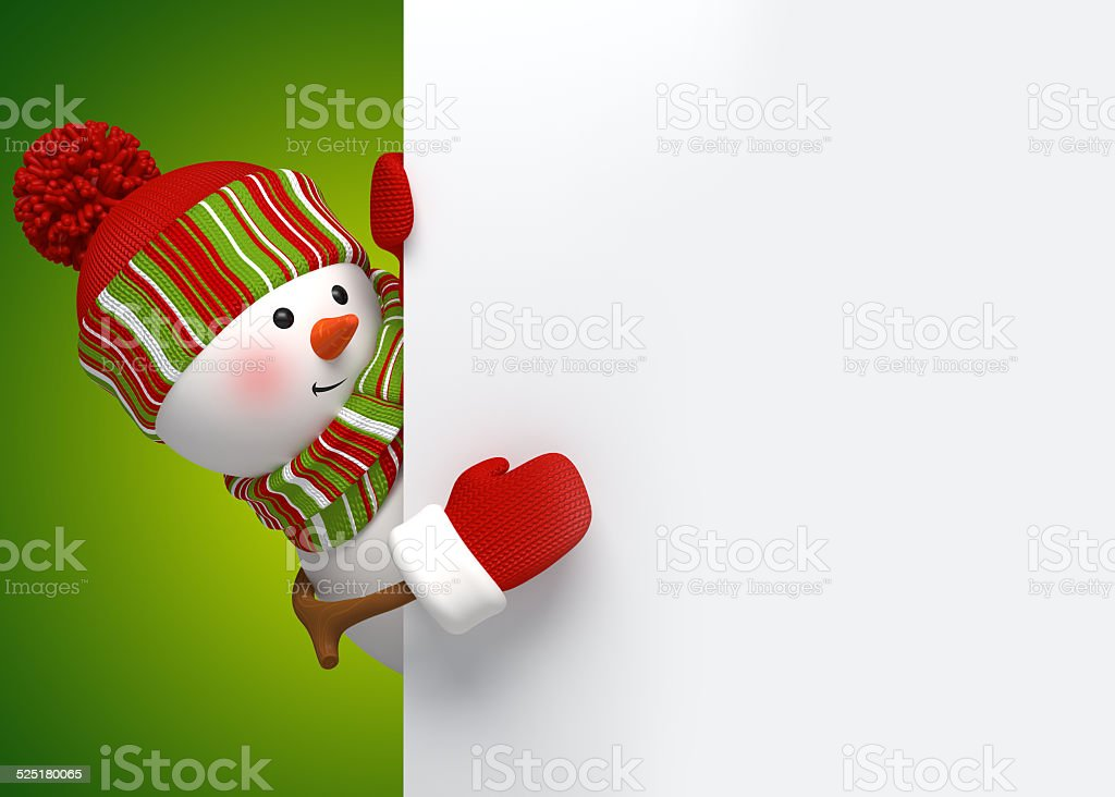 Funny Snowman Greeting Card Holiday Background 3d Cartoon