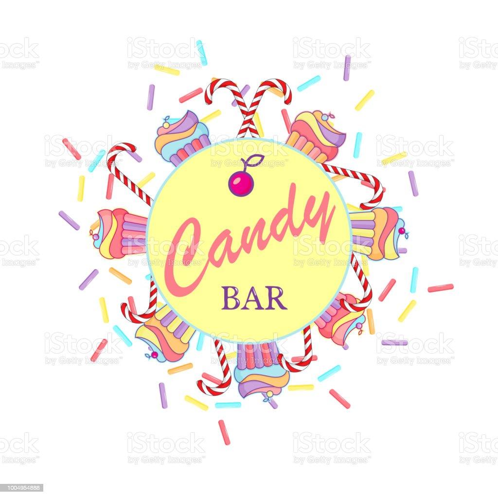 main dessiner illustration candy bar lettrage avec les cupcakes sucettes et confettis pour logo infographie cartes postales impression tshirt banniere affiche promotion publicite signe vecteurs libres de droits et plus d images vectorielles