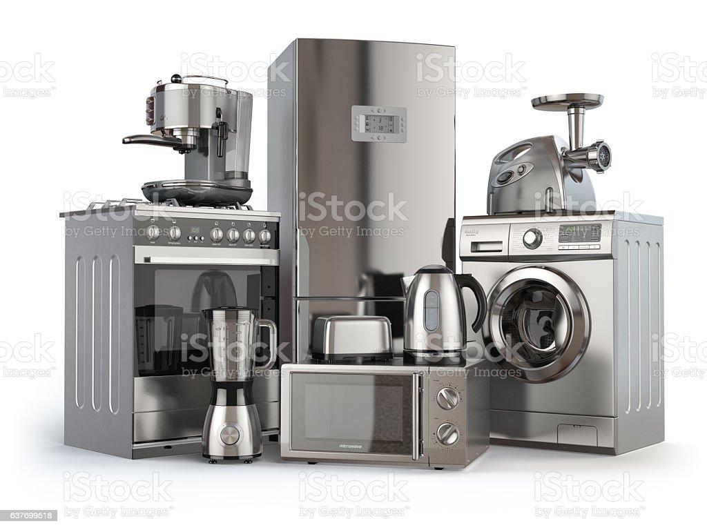 https www istockphoto com de vektor home appliances gas cooker refrigerator microwave and washi gm637699518 113885589